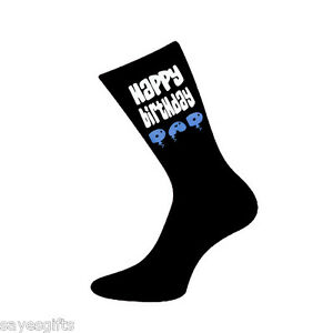 Image Is Loading Happy Birthday Dad Printed Design Mens Black Socks
