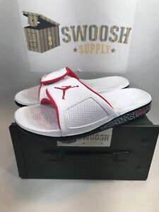 d8a96970f94b NIKE AIR JORDAN HYDRO 3 RETRO III SLIDE SZ 10 WHITE RED CEMENT GREY ...