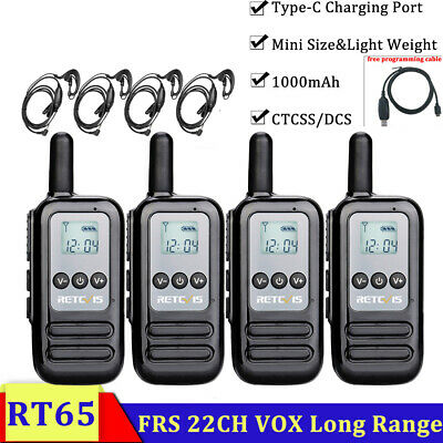 Retevis RT69 Walkie Talkies for Adults Long Range UHF FRS VOX Flashlight Squelch Rechargeable Encrypted 2-Way Radio with Earpiece Headset 4 Pack