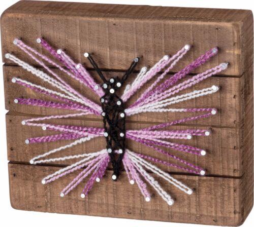 NEW!~Primitive Wood String Art Sign~Purple Butterfly~Shelf Sitter//Wall Art
