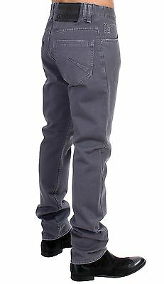 NEW $400 GALLIANO Gray Straight Fit Logo Cotton Jeans Pants Trousers s. W34
