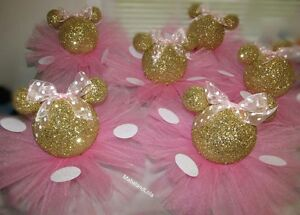 Gold Glitter Minnie Mouse Set 4 Centerpieces 1st Birthday Baby
