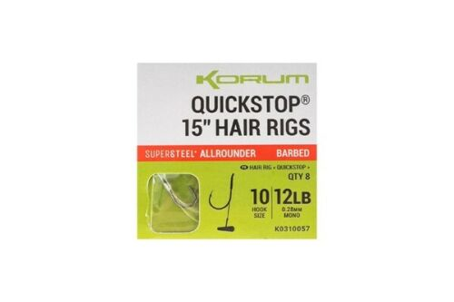 """Korum Big Fish Quickstop Cheveux Rigs 4/"""" ou 15/"""" Barbelé Ou Sans Ardillon Pêche À La Carpe"""