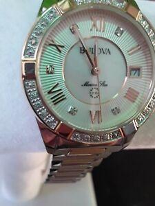 Bulova-Sapphire-glass-98R234-Marine-Star-23-Diamond-gold-silver-Two-Tone-Watch