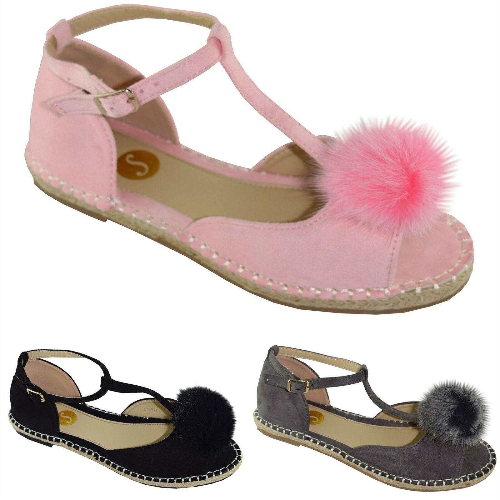 New Fur Ladies Mujer Peeptoe Sandals Flat Fur New PomPom T-Bar Espadrilles Pumps zapatos 07e665