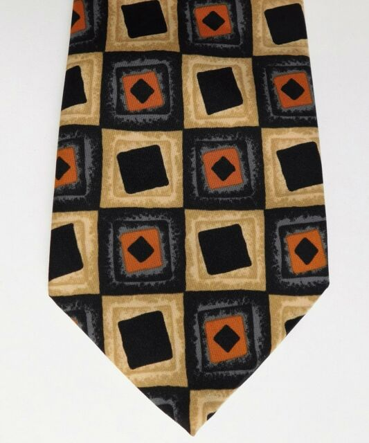 Ciro Citterio check tie men's smart formal office wear black and orange
