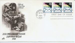 US-Scott-2150-First-Day-Cover-10-22-85-Washington-Plate-11111-Coil