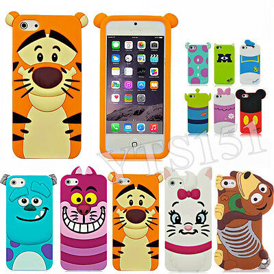 Cute 3D Cartoon Animal Silicone Soft Case Cover For Apple iPhone 4 4s 5 5s 6