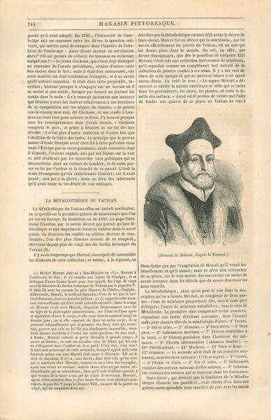 Portrait De Michele Mercati Par Le Tintoret / Metallothèque Vatican Gravure 1844