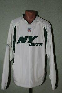 New-York-Jets-NFL-Reebok-Jacket-Jersey-Size-L-White-Green-Pullover-Mens-Adult