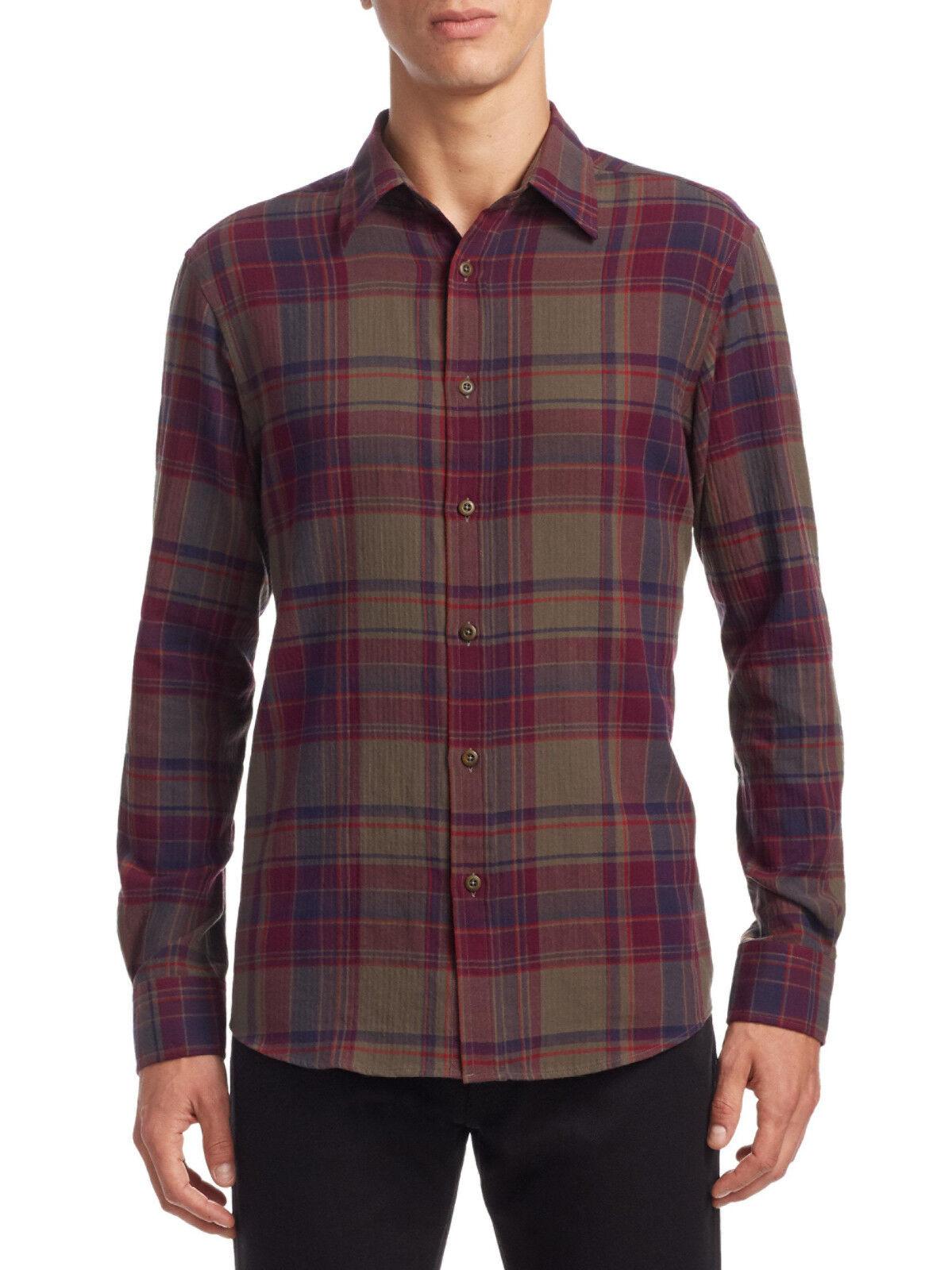 Ralph Lauren Purple Label Plaid Crinkle Stretch Dress Shirt New  595
