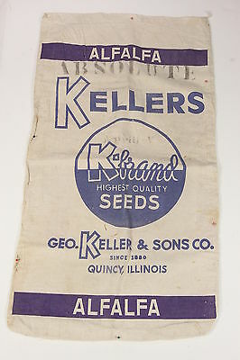 Kellers K-Brand Alfalfa Absolute Seed Sack Quincy Illinois Blue Purple Graphics
