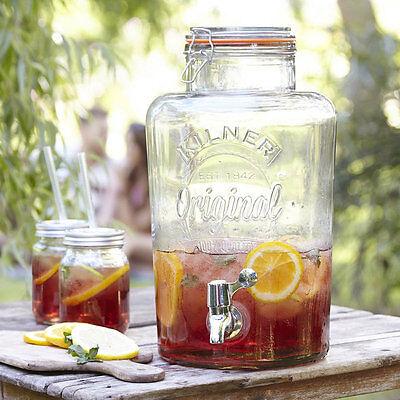 Kilner 8 Litre Glass Drinks Dispenser 8L Storage Jar or Stylish Beer Wine Mugs