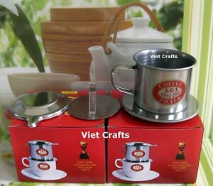 Lot-of-2-Vietnamese-Coffee-Maker-Drip-Filter-Stainless-Steel-Size-7