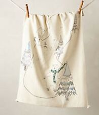 Anthropologie Winter Woodlands Dishtowel Tea Towel Polar Bears Skating Fishing