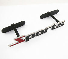 """Vehicle Front Grille 3D Stainless Metal """"Sports"""" Logo Badge Emblem Auto Racing"""