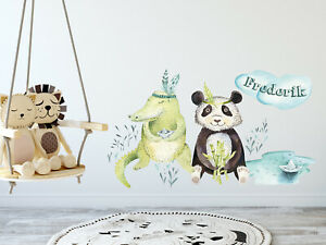 Wandtattoo Kinderzimmer Junge Tiere Mit Namen Babyzimmer Personalisiert Kinder Ebay