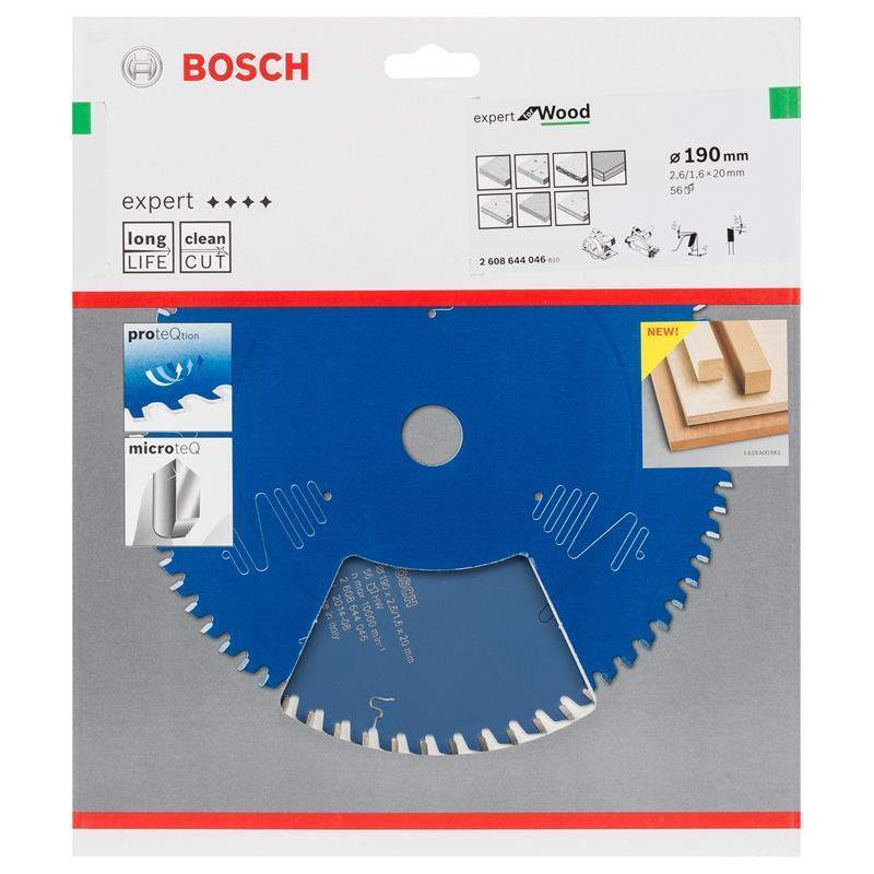 Bosch HM-Sägeblatt 190x2,6x20 Z56 2608644046 Expert for Wood für Handkreissägen