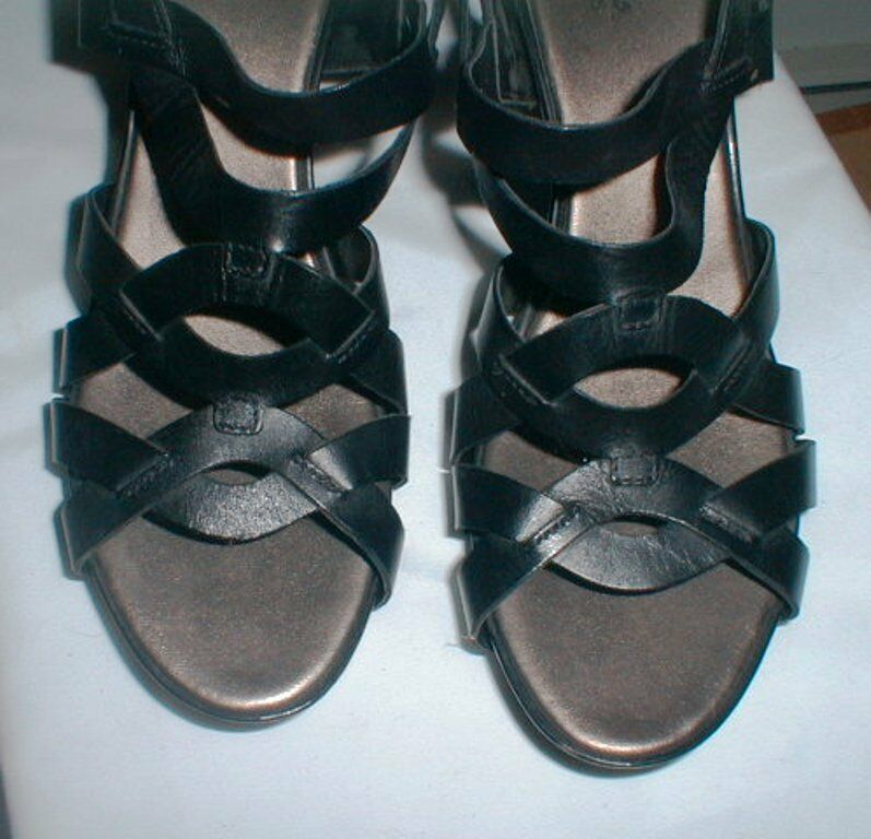 CLARKS LEATHER MULTI STRAP WEDGE HEEL LEATHER CLARKS SANDAL Schuhe SIZE 11 M 74ffc7