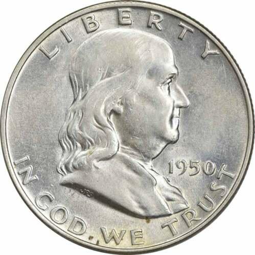1950-D Franklin Silver Half Dollar AU Uncertified