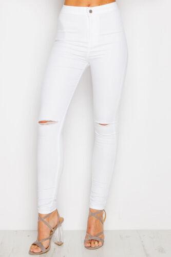 Freya Da Donna Joni Super highwaisted Blue Tube Stretch Jeans Skinny Pantaloni UK