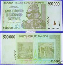 Africa Zimbabwe $500,000 Dollar,1/2 Million UNC Hyper Inflation Money Banknote