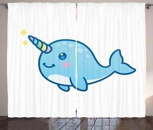Narwhal Curtains 2 Panel Set for Home Decor 5 Sizes Available Window Drapes