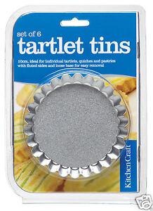 Kitchen-Craft-PK-6-10cm-Loose-Base-Fluted-Mini-Flan-Tart-Quiche-Tin-KCTARTLET
