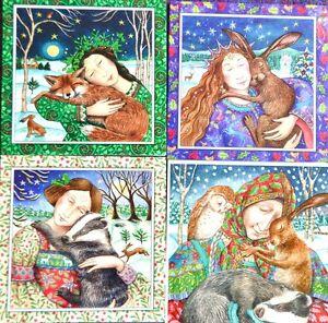 Wendy-Andrew-Yule-Christmas-Card-Glittery-Animal-hug-love-fox-hare-badger-rescue