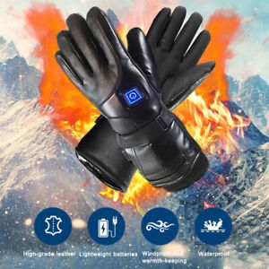 Leather-Electric-Heated-Gloves-Winter-Warmer-w-Rechargeable-Battery-Motorcycle