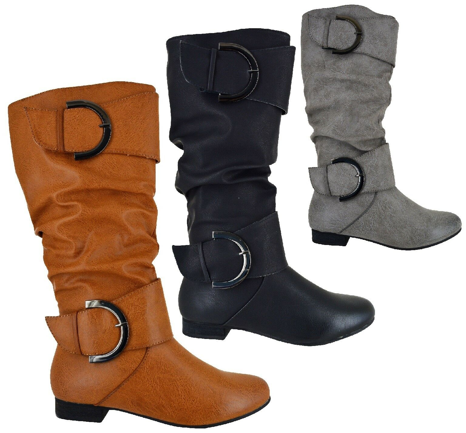 WOMENS FLAT KNEE HIGH WINTER WARM BOOTS LADIES BUCKLE  ZIP COMFY SHOES SIZE 3-8