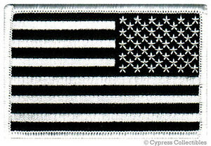 AMERICAN-FLAG-EMBROIDERED-PATCH-iron-on-BLACK-WHITE-US-REVERSE-subdued-LEFT-new