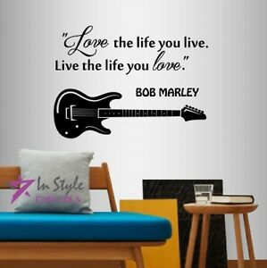 Image Is Loading Vinyl Decal Bob Marley Quote Love The Life