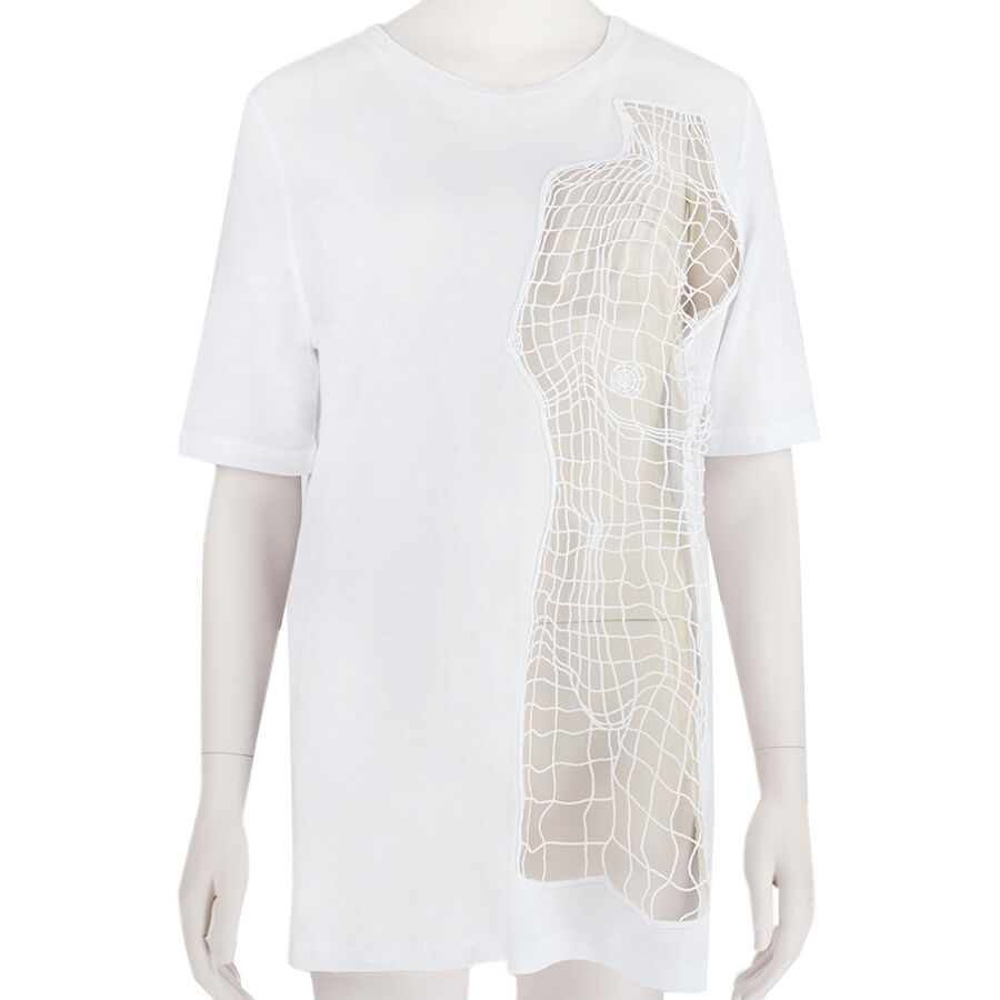 Christopher Kane White Cotton Lace Body Motif Oversize Top T-Shirt S UK8