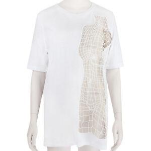 Christopher-Kane-White-Cotton-Lace-Body-Motif-Oversize-Top-T-Shirt-S-UK8