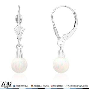 6-mm-Ball-Shaped-White-Fire-Opal-Leverback-Dangle-Earrings-14K-Solid-White-Gold