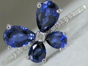 Moderno-Diamante-Zafiro-14-Quilates-Oro-Blanco-Mariposa-Flor