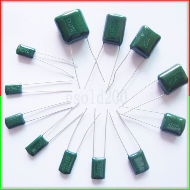 50 Pcs Radial Leads Polyester Film Capacitance Capacitors 2A102J 100V 1nF 5/%
