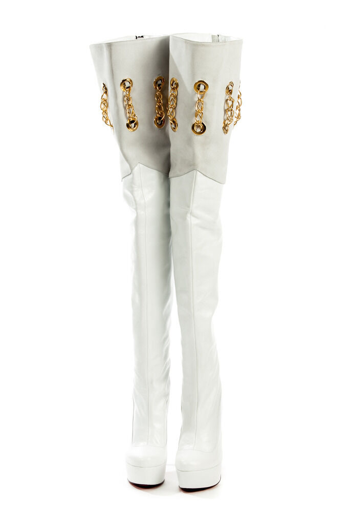 MORI ITALY OVERKNEE HEELS BOOTS STIEFEL STUDS STIVALI LEATHER WHITE BIANCO 44