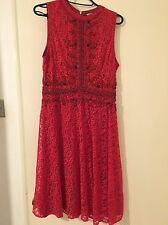 BNWT Beautiful Miss Selfridge Red Beaded And Sequinned Lace Dress Size 10