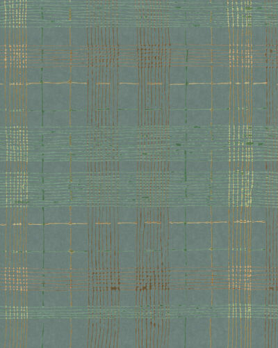 5,62€//1qm Vliestapete Karo Abstrakt blau grün metallisch Casual 30437