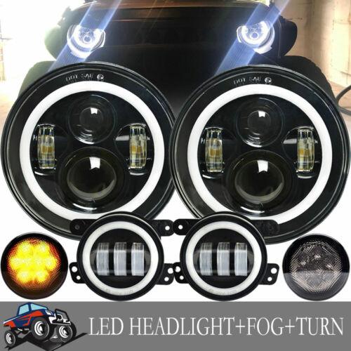 "7/"" Halo LED Headlight+Fog Lights Amber Turn LIGHT FIT 07 08-17 Jeep Wrangler JK"