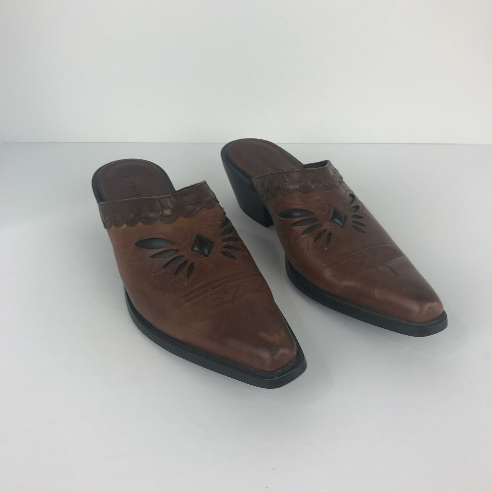 Women's Sonora Western Clogs Mules Brown Leather Butterfly Inlay Booties Size 7