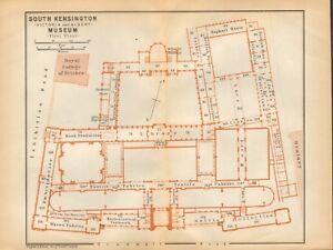 South Kensington London Map.1911 Antique Map London Plan South Kensington V A Museum
