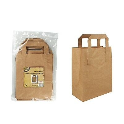 20x Brown Paper Lunch Bags Party Favours W Handle Craft Gift Lollies18x22x8 5cm 9320760238644 Ebay