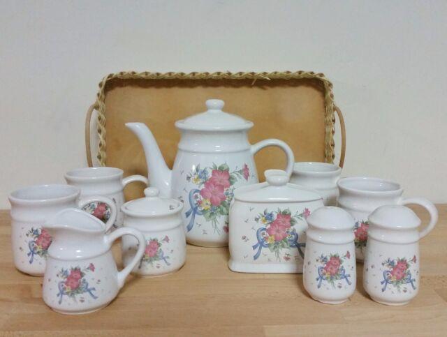 13 Piece Tea Coffee Set Pot Mugs Sugar Creamer Salt Pepper Napkin Holder Prop