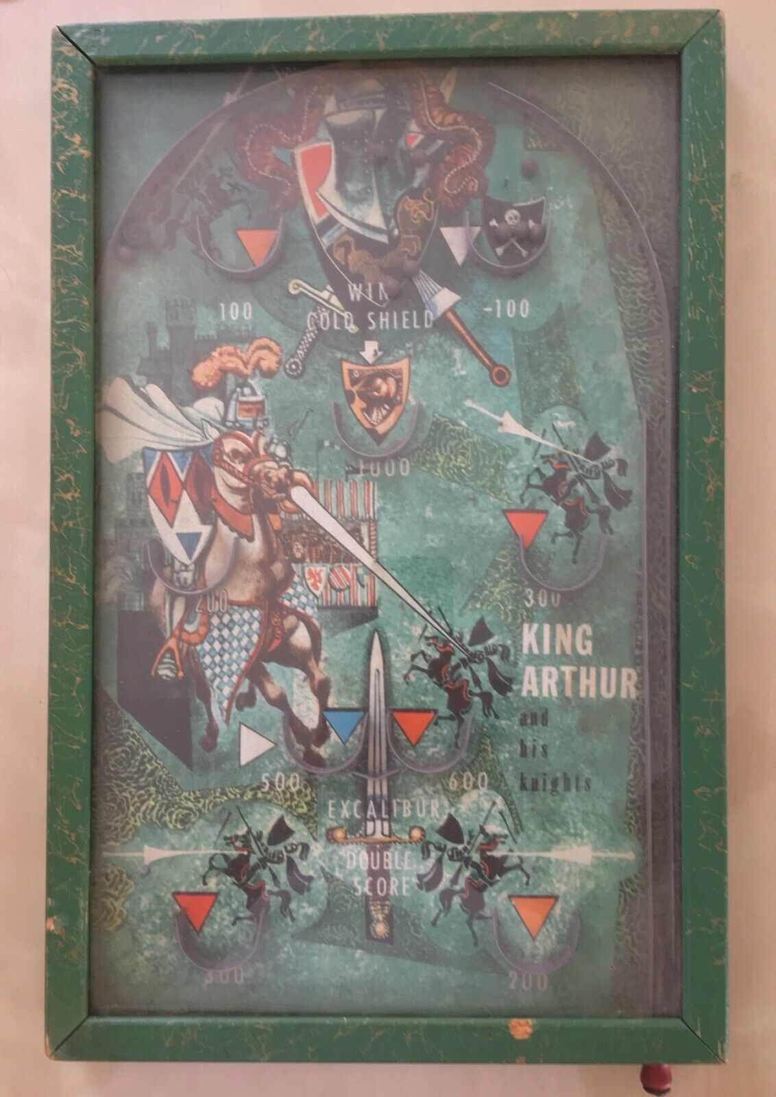 KING ARTHUR VINTAGE WOODEN PINBALL GAME 1950'S Collectible fully functional
