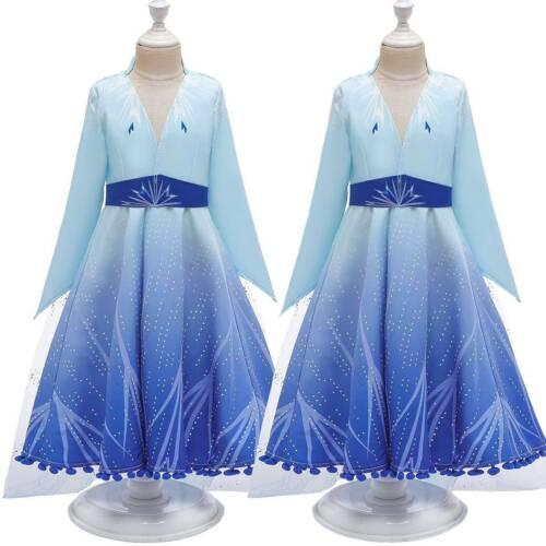 Kid Girls Frozen 2 Queen Elsa Cosplay Costume Xmas Fancy Dress Up Snow Clothes