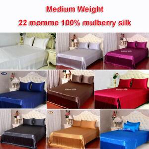 3pcs-22mm-Medium-Weight-100-Mulberry-Silk-Flat-Top-Sheets-Pillow-Cases-Set