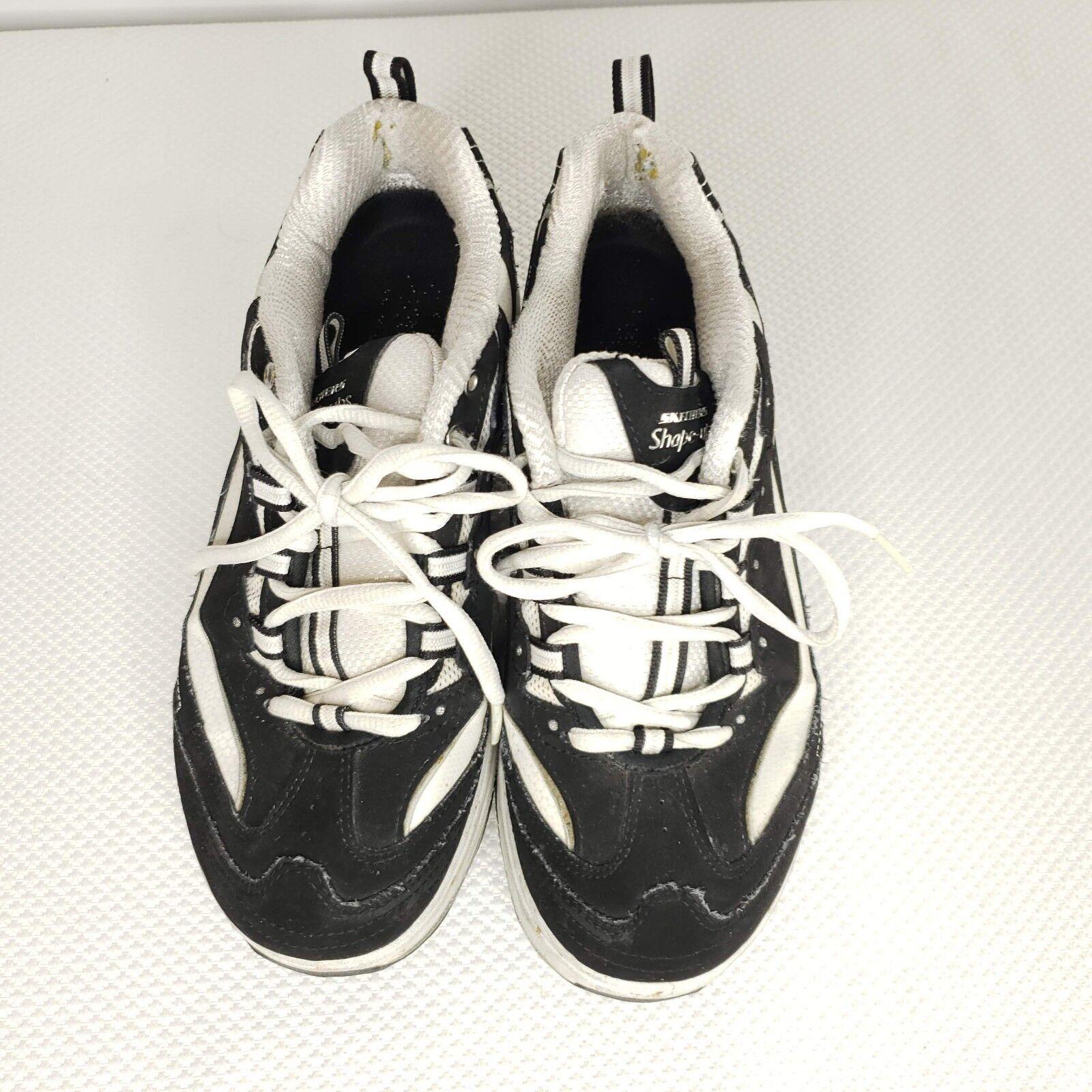 Sketchers Shape Ups 8.5 Black Black Black White Leather Walking Toning Sneakers shoes 44d989